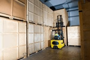 Storage crates inside our secure, clean dry warehouse